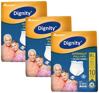 Dignity Overnight Pull Ups Adult Diaper Medium-Large 10 pcs, Waist Size 24- 53(Pack of 3)