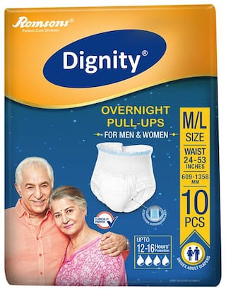 Dignity Overnight Pull Ups Adult Diaper M & L Size 10 pcs (Pack of 1)