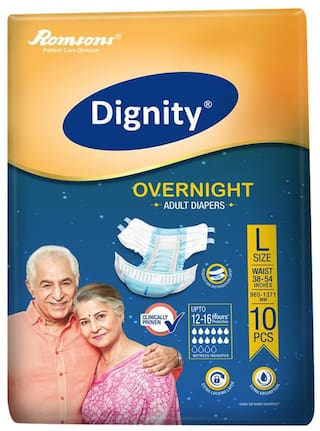 Dignity Overnight Adult Diaper Large 10 Pcs Waist Size 38- 54 Pack of 1