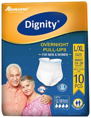 Dignity Overnight Pull Ups Adult Diaper L & XL Size10 pcs (Pack of 1)