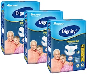 Dignity Premium Adult Diapers Medium (Waist Size 28- 45) 10 pcs Pack of 3
