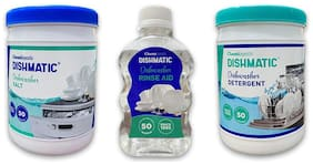 DISHMATIC Combo of Dishwasher Detergent 1 kg,Salt 1 kg and Rinse 200 ml (Pack Of 3)