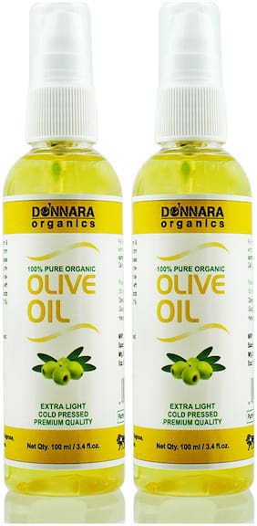 Donnara Organics Premium Extra Light Olive oil- 100% Pure & Natural Combo pack of 2 bottles of 100 ml