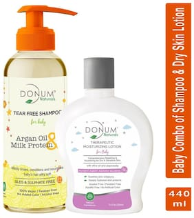 Donum Naturals Baby Combo Of Tear Free Shampoo & Therapeutic Lotion for Dry Sensitive Skin -( Each 220 ml)