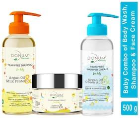 Donum Naturals Tear Free Baby Body Wash Shampoo and Moisturizing Cream Combo (220 ml/60 g & 220 ml)