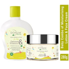 Donum Naturals Oatmeal, Vitamin-F & Saffron Moisturizing Cream (60 g) &  Lotion Combo For Baby (220 ml)