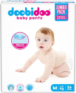 Doobidoo Baby Pants - Medium Size Diapers (56 Count) - All Round Softness with Bubble soft topsheet and anti leak side cuffs (7-12 kgs)
