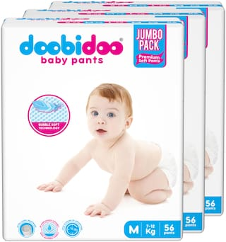 Doobidoo Baby Pants - Medium Size Diapers (168 Count) - All Round Softness with Bubble soft topsheet and anti leak side cuffs (7-12 kgs)