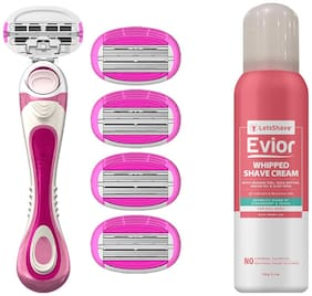 LetsShave Evior 6 Body Hair Removal Razor for Women (1 Razor Handle, 4 Blades Cartridge with Free 4 Blade Cases, 1 Whipped Shave Cream)
