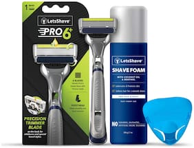 LetsShave Pro 6 Advance Shaving Trial Kit For Men - Pro 6 Advance Blade With Trimmer + Advanced Razor Handle + Razor Cap+ Shaving Foam 200 g
