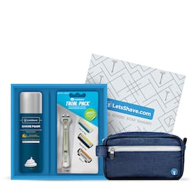 Letsshave Dorco Letsshave Executive Trial Shaving Kit - Trial Pack + Razor Stand + Razor Cap + Shaving Foam 200 G. + Free Travel Bag Worth Rs.599 (Green Handle)