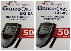 Dr. Morepen Gluco-One Bg-03 Blood Glucose 100 Test Strips Only / Glucometer Test strips (Pack of 2) / Sugar Test Strips