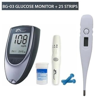 Dr.Morepen Bg Glucometer/ Blood Glucose meter With 25 Strips And Free Digital Thermometer/Sugar Machine/Sugar Test Machine/Glucose/Gluco meter