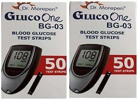 Dr. Morepen Gluco-One Bg-03 Blood Glucose 100 Test Strips Only / Glucometer Test strips (Multicolor) / Sugar Test Strips