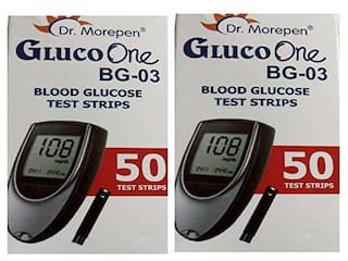 Dr. Morepen Gluco-One Bg-03 Blood Glucose 50 Test Strips Only / Glucometer Test strips (Pack of 2) / Sugar Test Strips