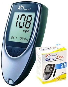 Dr. Morepen Gluco-One Bg-03 Blood Glucose Monitor/ Glucometer With 25 Test Strips/Sugar Machine/Sugar Test Machine/Glucose/Gluco meter