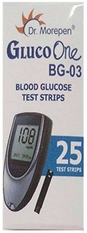 Dr. Morepen Gluco-One Bg-03 Blood Glucose 25 Test Strips Only / Glucometer Test strips / Sugar Test Strips