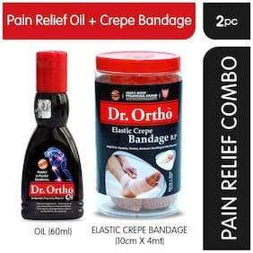 Dr Ortho (Oil 60 ml + Crepe Bandage 10Cm X 4Mt.) Pain Relief Combo
