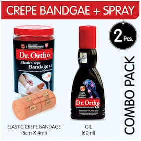 Dr Ortho (Oil 60 ml + Crepe Bandage 8Cm X 4Mt.) Pain Relief Combo