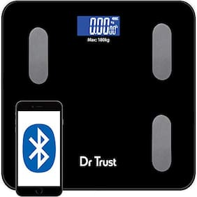 Dr Trust (USA) Digital Smart Electronic Rechargeable Bluetooth Fitness Body Composition Monitor Fat Analyzer 2.0 Weight Machine and Weighing Scale model-509 180kg