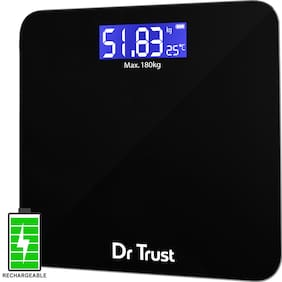 Dr Trust (USA) Electronic Zen Rechargeable Digital Personal Weighing Scale for Human Body with Temperature Display 180kg