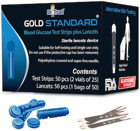 Dr Trust USA Gold Standard Blood Glucose Test Strips Plus Lancets - 50 Strips