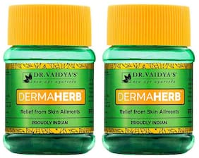 Dr. Vaidya's Dermaherb | Ayurvedic Medicine For Acne, Itching, Boils and Other Skin Ailments | 30 Pills x Pack of 2