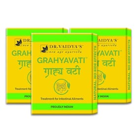 Dr. Vaidya's Grahyavati | Ayurvedic Medicine For Digestion, Ulcerative Colitis, Irritable Bowel Syndrome and other Intestinal Ailments | 24 Pills x Pack of 3