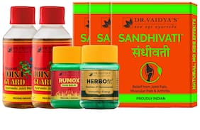Dr. Vaidya's Arthritis Pack|Ayurvedic Treatment for Muscle Joint & Arthritic Pain|Sandhivati (24 Pills x 3 bottle),Nirgundi (100ml x 2 bottle),Rumox (50gm X 1 bottle),Herbofit (30Capsules X 1 bottle)