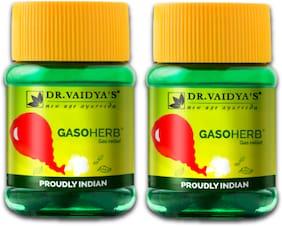 Dr. Vaidya's Gasoherb | Ayurvedic Medicine For Abdominal Gas, Bloating, Belching and Indigestion | 30 Pills X Pack of 2