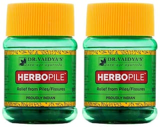 Dr. Vaidya's Herbopile | Ayurvedic Medicine For Fissures and Piles | 30 Pills x Pack of 2