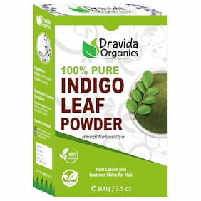 DRAVIDA ORGANICS 100% Pure Indigo Powder for Hair 100g (Pack Of 1)