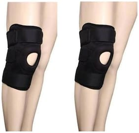 DreamPalace India Pair of Adjustable Knee Cap Knee Support Knee Support (Free Size  Black)