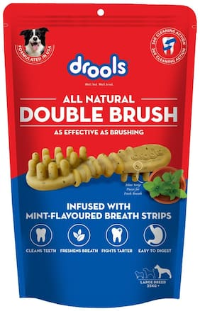 Drolls All Natural Double Brush Dental Treats for Large Breed Dogs (10 pieces) 330g