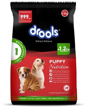 Drools 100% Vegetarian Puppy Dog Food 6.5 kg - 1.2 kg Extra Free Inside