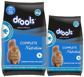 Drools Adult (+1 Year) Dry Cat Food Ocean Fish 3 kg (+Extra 1.2 kg Free)