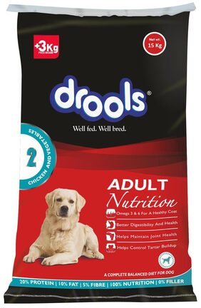 Drools Chicken And Vegetable Adult Dog Food 15 kg - 3 kg Extra Free Inside