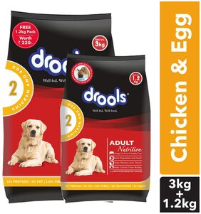 Drools Chicken And Egg Adult Dog Food 3 kg (+ 1.2 kg Free)