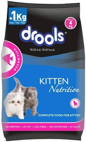 Drools Kitten(1-12 months) Dry Cat Food, Ocean Fish, 4kg (3kg + 1kg Food Free Inside)