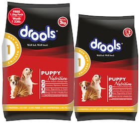 Drools Puppy Chicken & Egg Dry Dog Food 3 kg (+Extra 1.2 Kg Free)