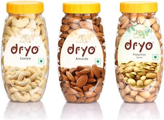 Dryo Dry Fruit Cashew 220g, Pistachio Salted 200g & Almond 250g (Pack of 3)
