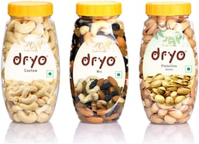 Dryo Dry Fruit Dryo Dry Fruit Combo Cashew 220g, Pistachio Salted 200g & Mix 220g (Pack of 3)