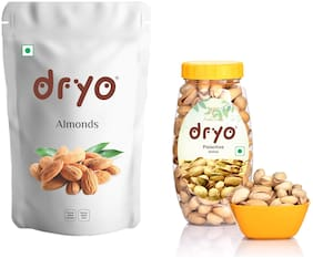 Dryo Natural Combo Pack of Almond 500g & Pistachio 200g Pack of 2