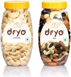 Dryo Natural Combo Pack of Delicious Mix Dry Fruits 220g Mixture of Almonds,Black Raisin,Cashew,& Raisin and Cashew 220g (Pack Of 2)