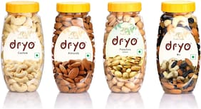 Dryo Premium Dry Fruit Combo Pack Of Almond Cashew Nuts Pistachios and Mix Nuts 890g (Pack of 4)