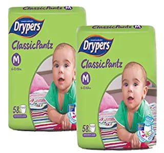 Drypers Classicpantz Medium Sized Pant Style Diaper,Combo Pack of 2,58 each (Total 116 Counts)