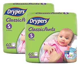 Drypers Classicpantz Small Sized Pant Style Diaper,Combo Pack of 2,60 each (Total 120 Counts)