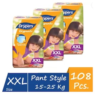 Drypers Drypantz Pant Style Premium Diaper,XXL Size,Combo Pack of 3,36 Counts Each (Total 108 Counts)