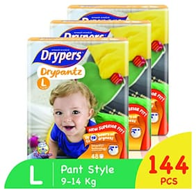 Drypers Drypantz Pant Style Premium Diaper,Large Size,Combo Pack of 3,48 Counts Each (Total 144 Counts)