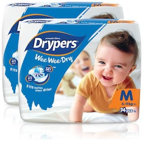 Drypers Wee Wee Dry Medium Sized Diapers,Combo Pack of 2,74 Counts Each (148 Counts)(Taped Diaper)